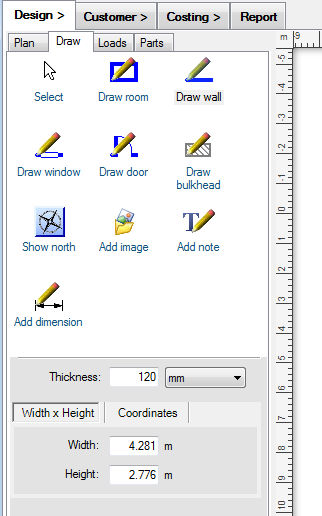 Draw tools tab