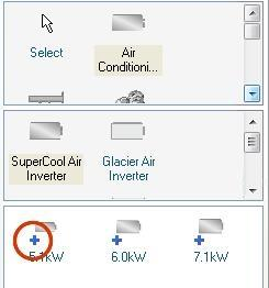 Catalog parts with add parts symbol